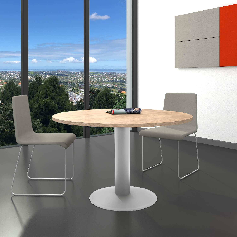OPTIMA runder Besprechungstisch Ø 120 cm Bernstein-Eiche Silbernes Gestell Tisch Esstisch