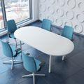 Konferenztisch oval OPTIMA 2.000 x 1.000 mm Weiß