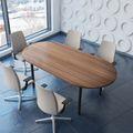 Konferenztisch oval OPTIMA 2.000 x 1.000 mm Nussbaum