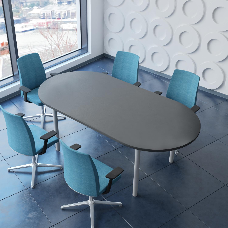 PROFI Besprechungstisch oval 200 x 100 cm OPTIMA 4-6 Pers. Konferenztisch Meetingtisch
