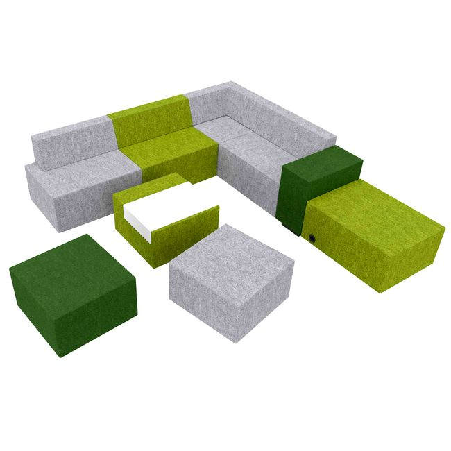 JAZZ Sitzgruppe | 2200 x 2500 mm, Wollbezug VELITO - Grün / Hellgrau meliert