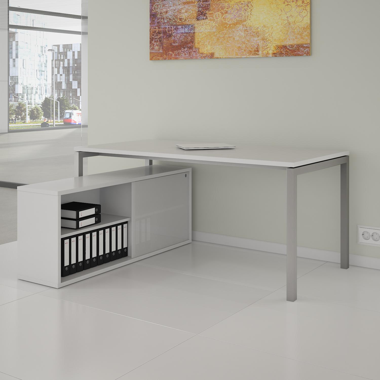 PROFI Chefschreibtisch mit Sideboard 200x138 cm NOVA U Konferenztisch Meetingtisch Schreibtisch Weiß