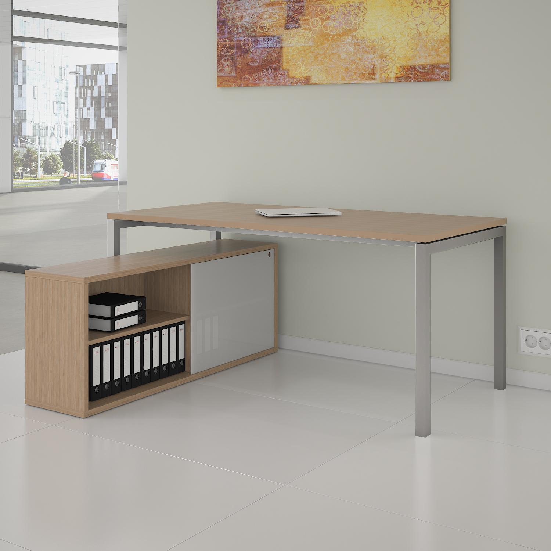 PROFI Chefschreibtisch mit Sideboard 200x138 cm NOVA U Konferenztisch Meetingtisch Schreibtisch Bernstein-Eiche