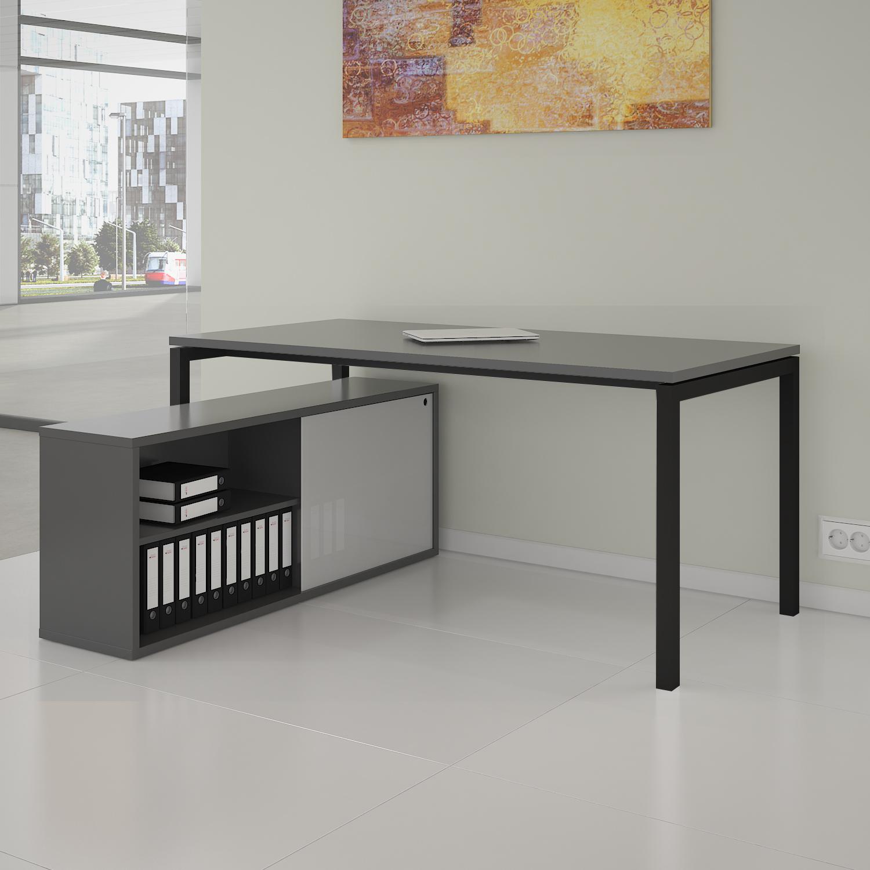 PROFI Chefschreibtisch mit Sideboard 200x138 cm NOVA U Konferenztisch Meetingtisch Schreibtisch Anthrazit