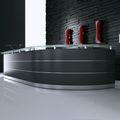 Empfangstheke MALAGA aus der Serie eMel 3.588 x 1.120 mm Theke runde Theke mit Sockel