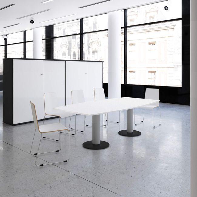 OPTIMA Konferenztisch | Bootsform, 2000 x 1000 mm (6 - 8 Personen), Weiß