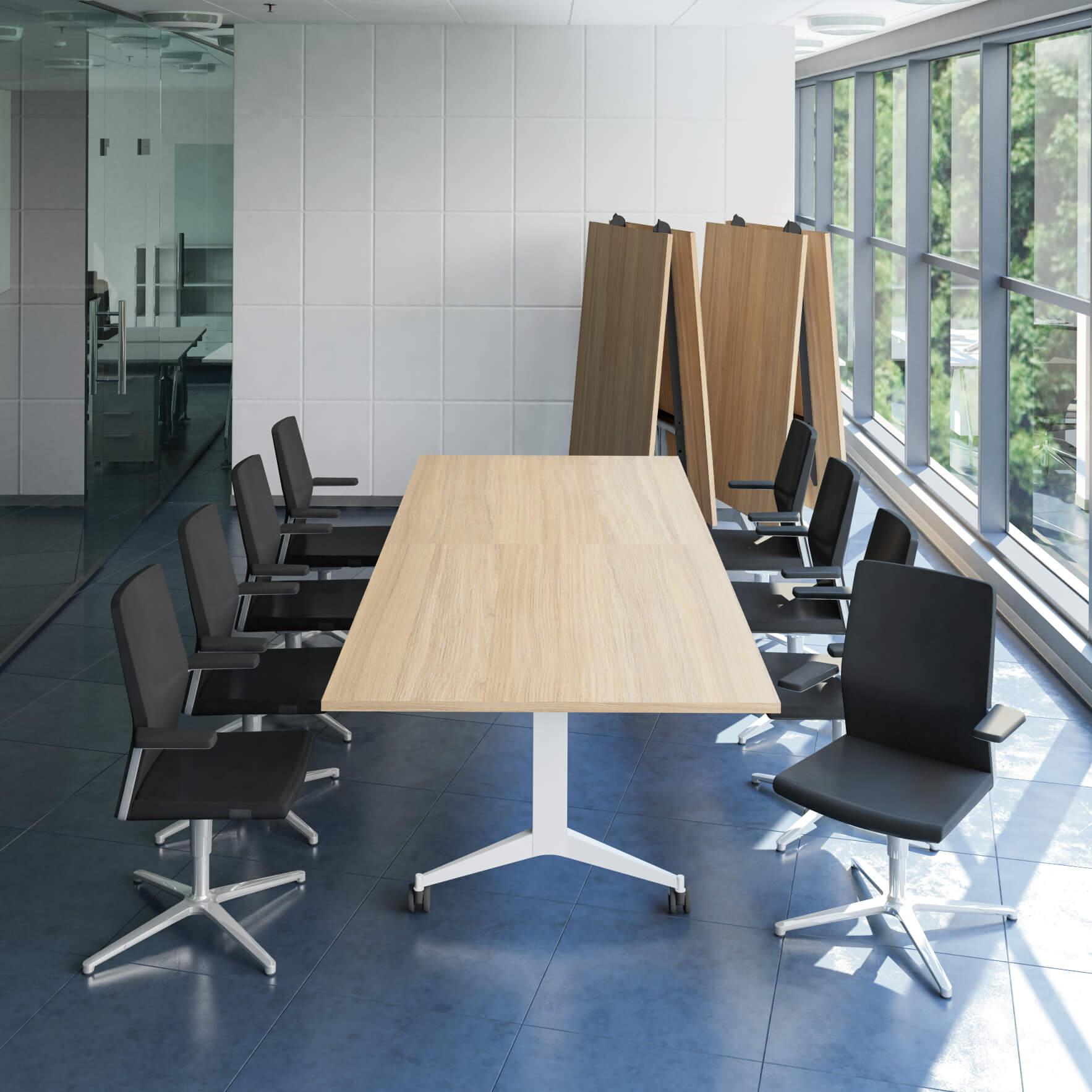 Falttisch Klapptisch 3.200 x 1.200 mm TIMMY Bernstein-Eiche Konferenztisch klappbar rollbar Klapptisch