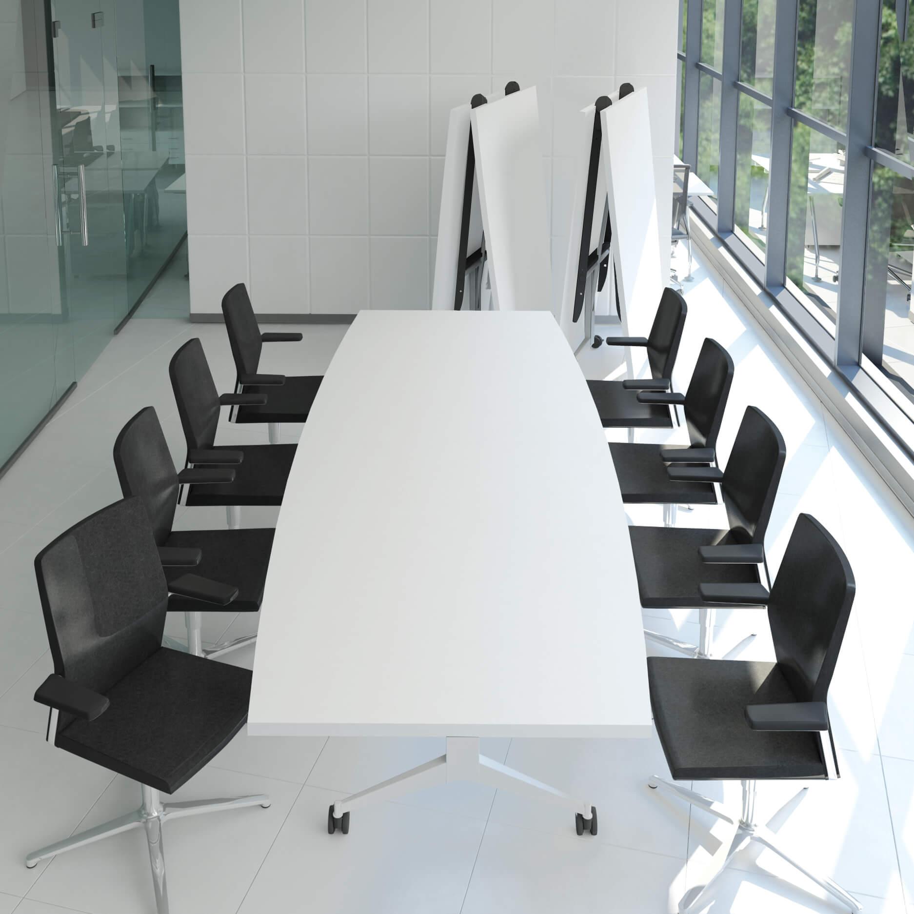 Falttisch Klapptisch Bootsform 3.200 x 1.200 mm TIMMY Weiß Konferenztisch klappbar rollbar Klapptisch