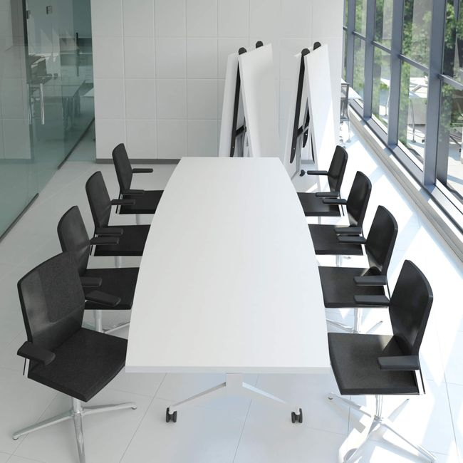 TIMMY Falttisch   Auf Rollen, klappbar, Bootsform, 3200 x 1200 mm, Weiß