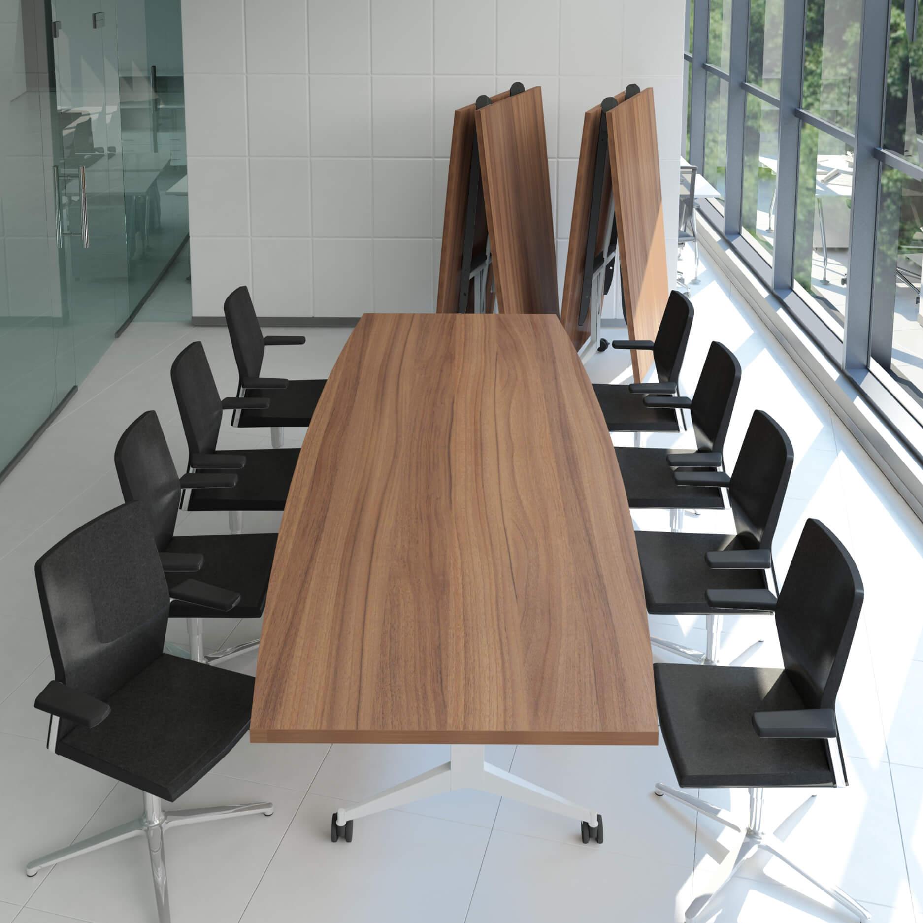 Falttisch Klapptisch Bootsform 3.200 x 1.200 mm TIMMY Nussbaum Konferenztisch klappbar rollbar Klapptisch