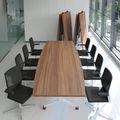 Falttisch TIMMY 3.200 x 1.200 mm Nussbaum Bootsform rollbar klappbar Konferenztisch