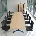 Falttisch TIMMY 3.200 x 1.200 mm Bernstein-Eiche Bootsform rollbar klappbar Konferenztisch