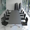 Falttisch TIMMY 3.200 x 1.200 mm Anthrazit Bootsform rollbar klappbar Konferenztisch