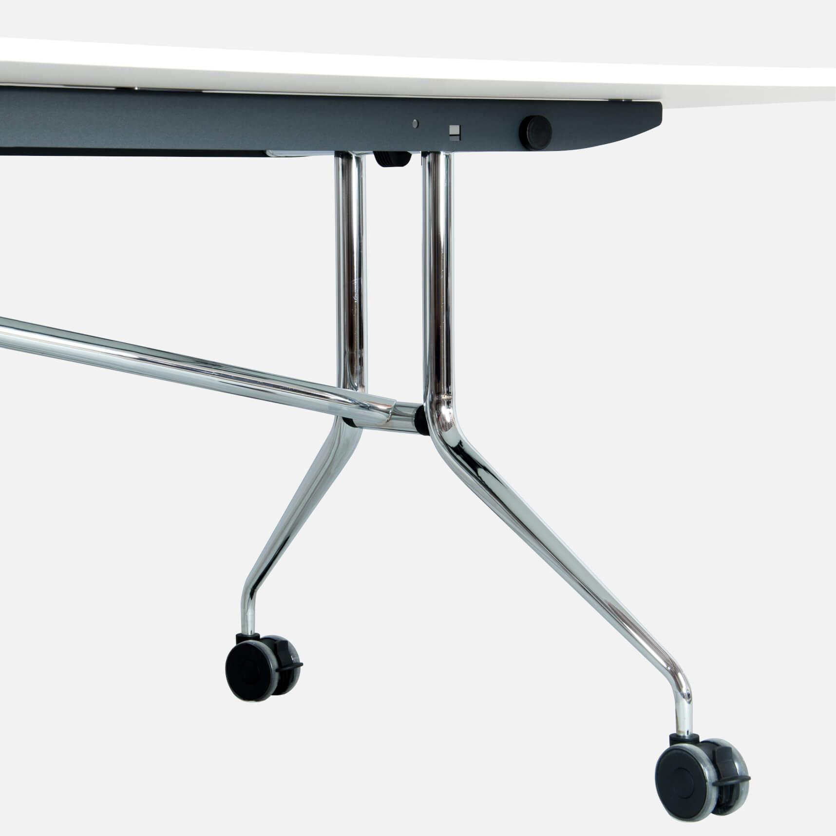 Falttisch Klapptisch 2.400 x 1.000 mm LIBRO Weiß Konferenztisch klappbar rollbar auf Rollen mobil