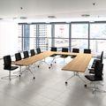 Falttisch LIBRO 2.800 x 1.000 mm Bernstein-Eiche rollbar klappbar Konferenztisch