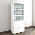 Vitrinenschrank mit Hängeregister und Glastüren UNI 5 OH, (BxH) 800 x 1.897 mm, Weiß