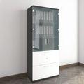 Vitrinenschrank mit Hängeregister und Glastüren UNI 5 OH, (BxH) 800 x 1.897 mm, Anthrazit-Weiß