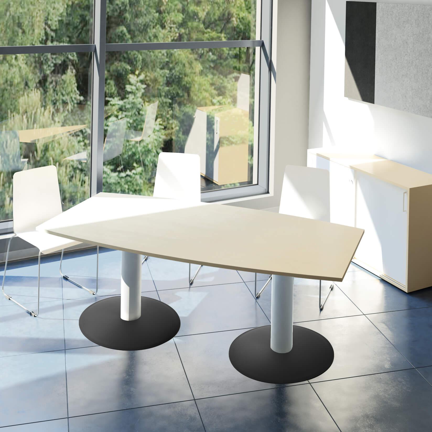 OPTIMA Konferenztisch Bootsform 180x100 cm Besprechungstisch Ahorn Tisch Esstisch Küchentisch