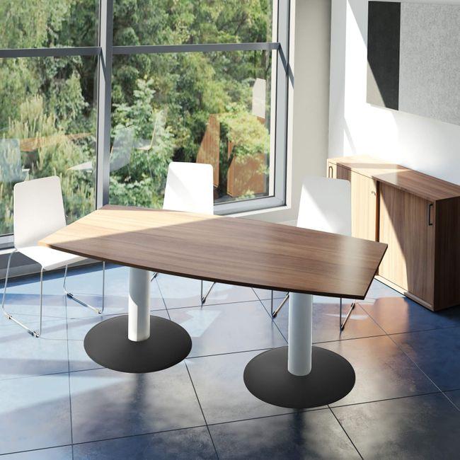 OPTIMA Konferenztisch   Bootsform, 1800 x 1000 mm (6 - 8 Personen), Nussbaum