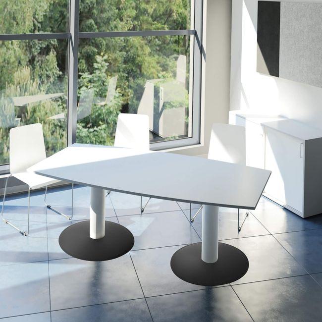 OPTIMA Konferenztisch Bootsform 180x100 cm Besprechungstisch Lichtgrau Tisch Esstisch Küchentisch