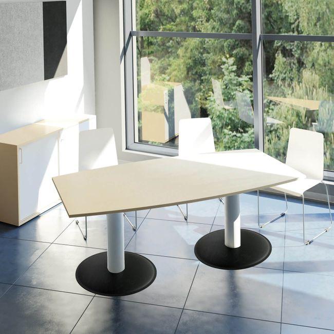 OPTIMA Konferenztisch Bootsform 200x100 cm Besprechungstisch Ahorn Tisch Esstisch Küchentisch