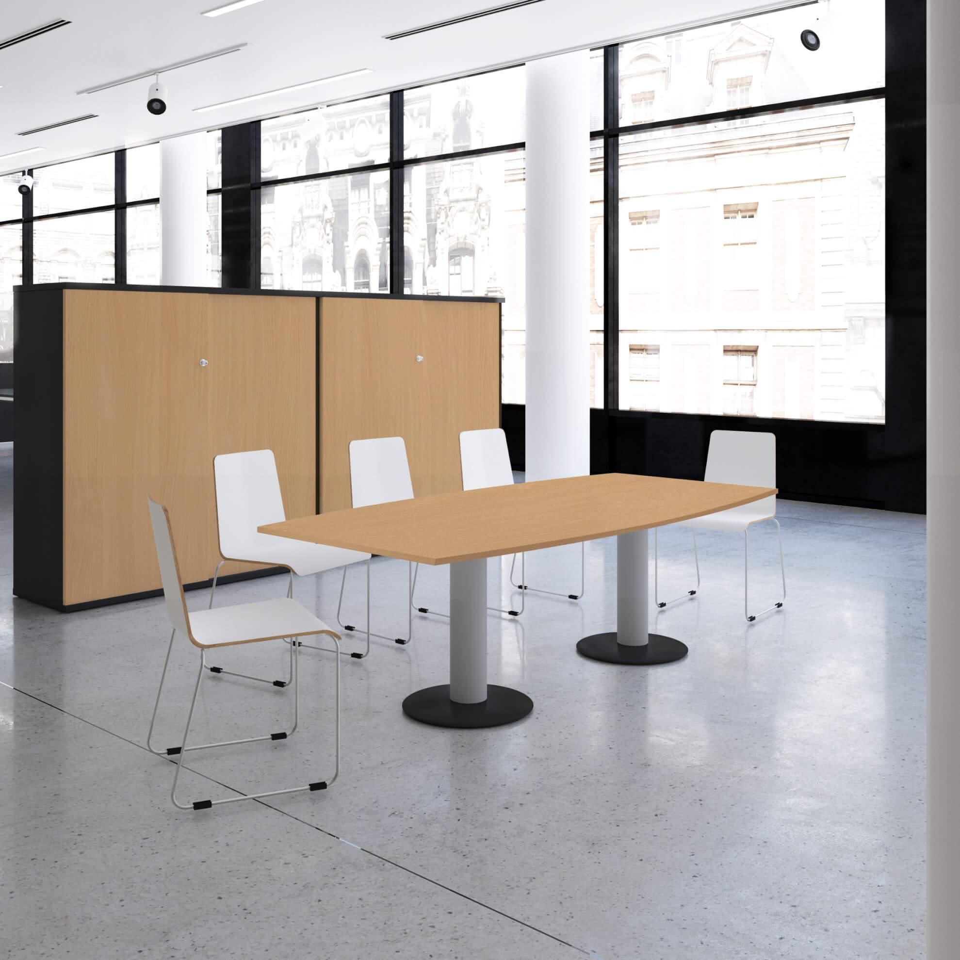 OPTIMA Konferenztisch Bootsform 200x100 cm Besprechungstisch Buche Tisch Esstisch Küchentisch