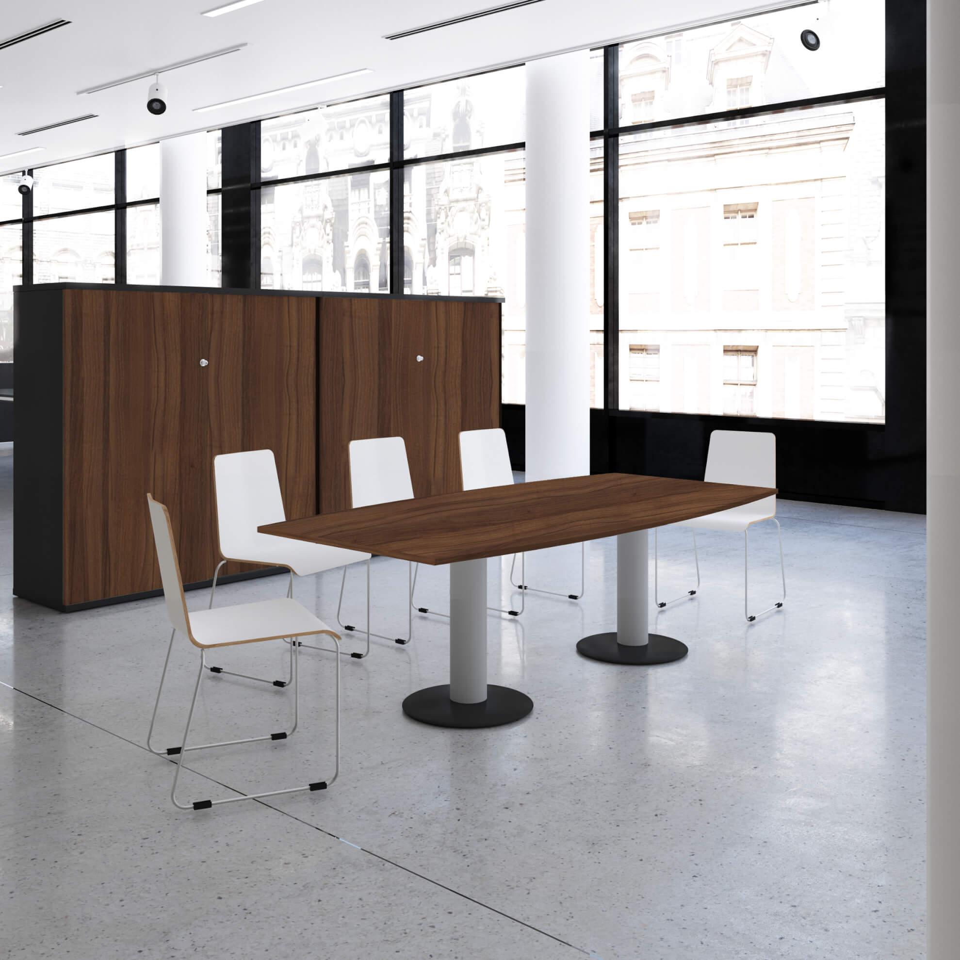 OPTIMA Konferenztisch Bootsform 200x100 cm Besprechungstisch Nussbaum Tisch Esstisch Küchentisch
