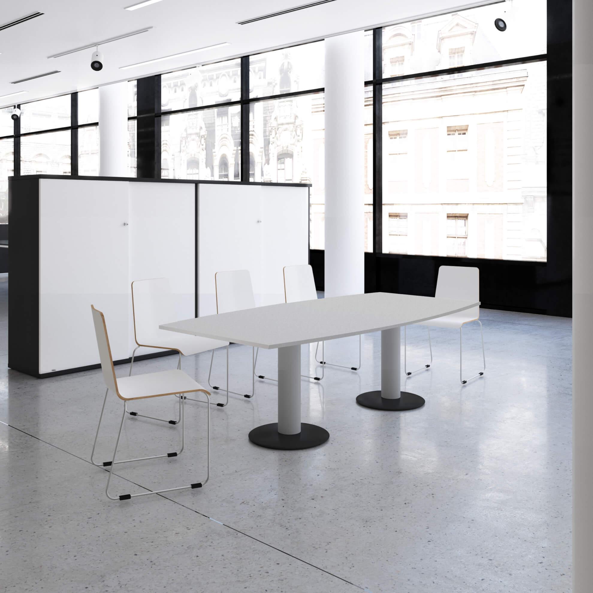 OPTIMA Konferenztisch Bootsform 200x100 cm Besprechungstisch Lichtgrau Tisch Esstisch Küchentisch