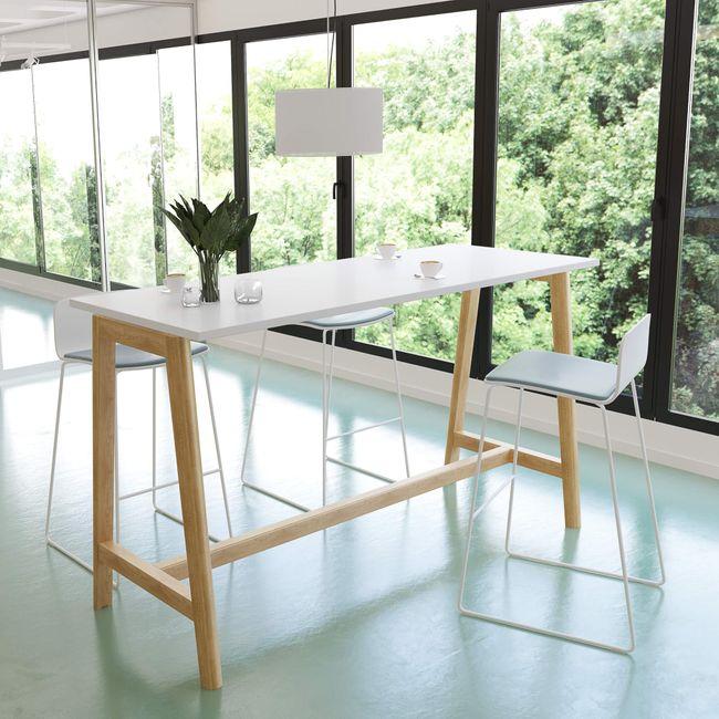 Hochtisch NOVA Wood 1.600 x 700 mm Weiß mit Holzgestell – Bild 1