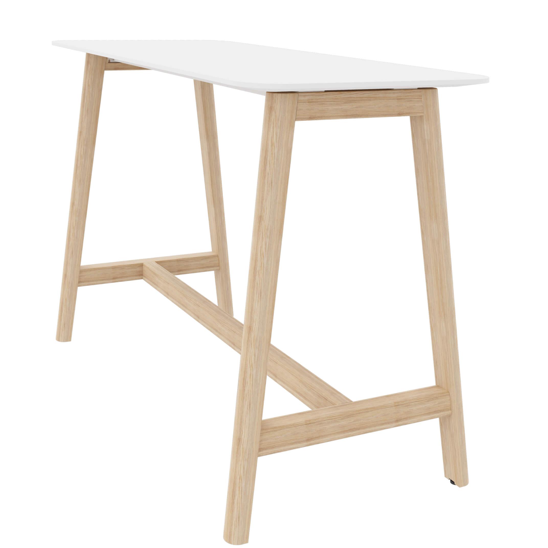 Stehtisch NOVA Wood 160 x 70 cm HPL-Weiß/Holz Hochtisch Bartisch Tresentisch