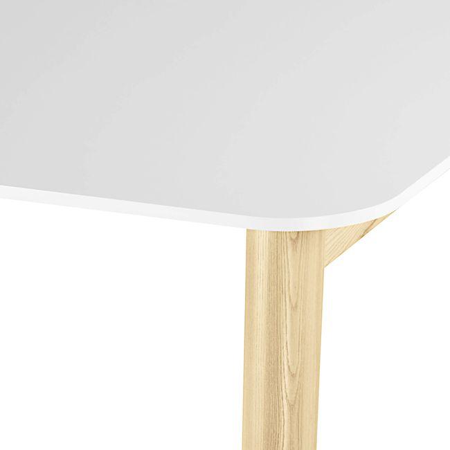 NOVA WOOD Hochtisch   Massivholz-Gestell, 1600 x 700 mm, HPL Weiß