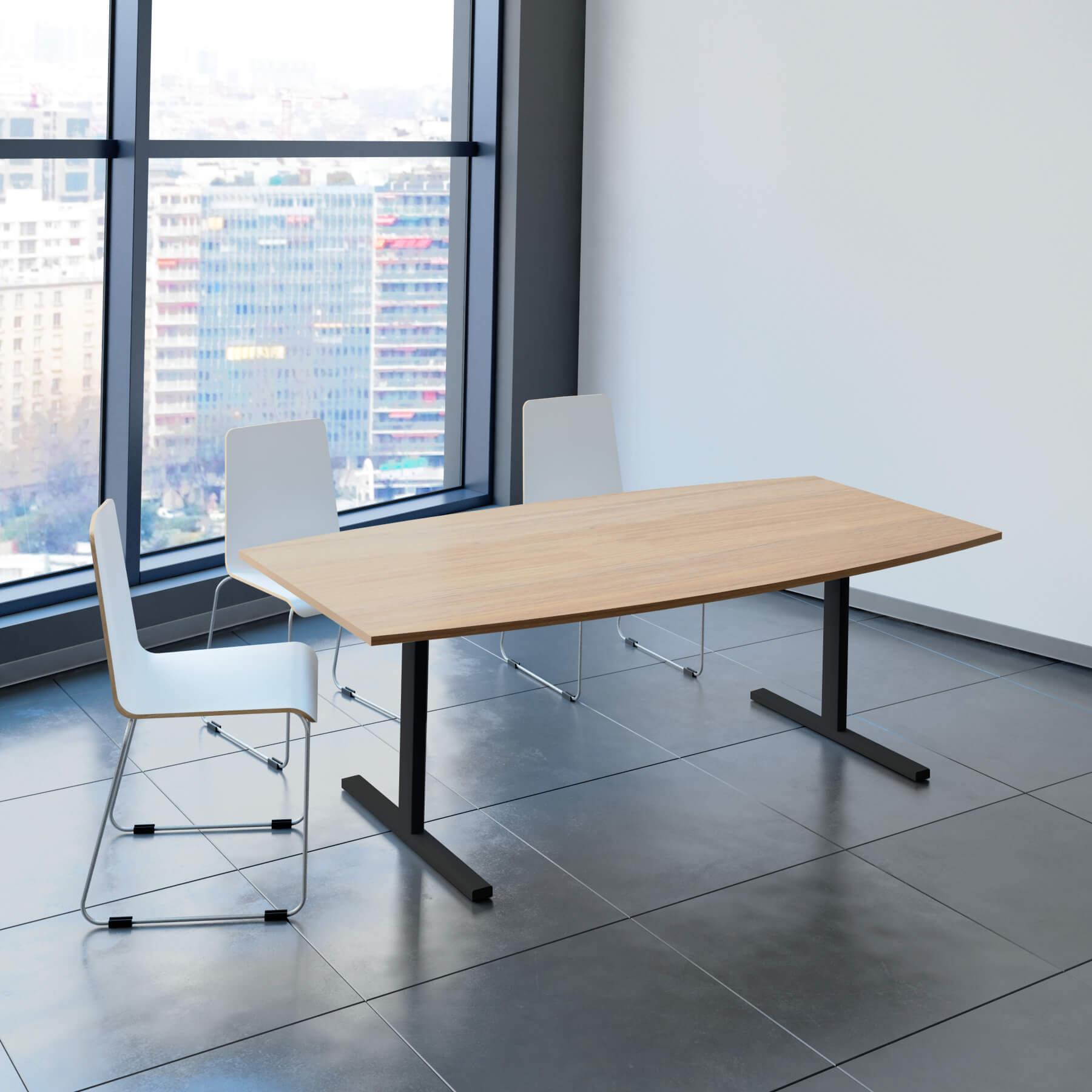 EASY Konferenztisch Bootsform 200x100 cm Weiß Besprechungstisch Tisch