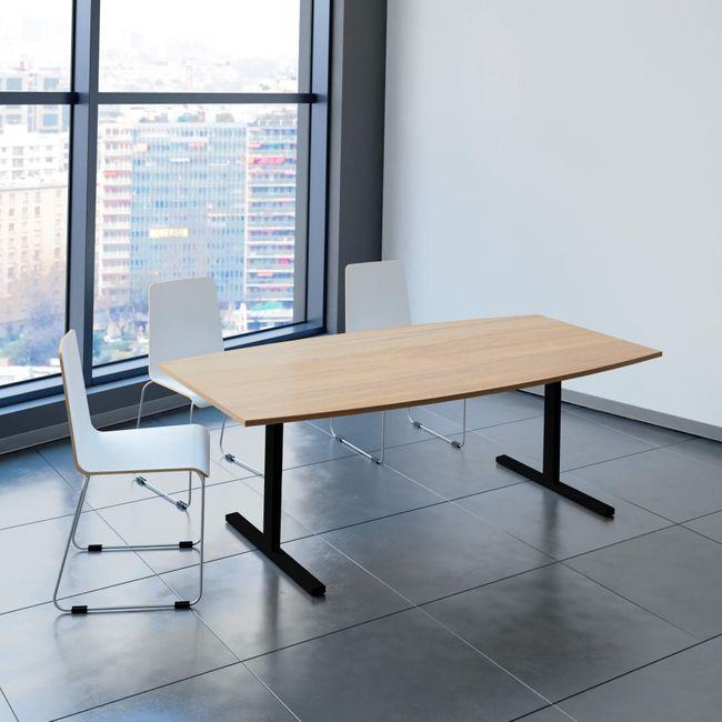 Konferenztisch Bootsform EASY 2.000 x 1.000 mm Bernstein-Eiche 6 - 8 Personen  – Bild 1