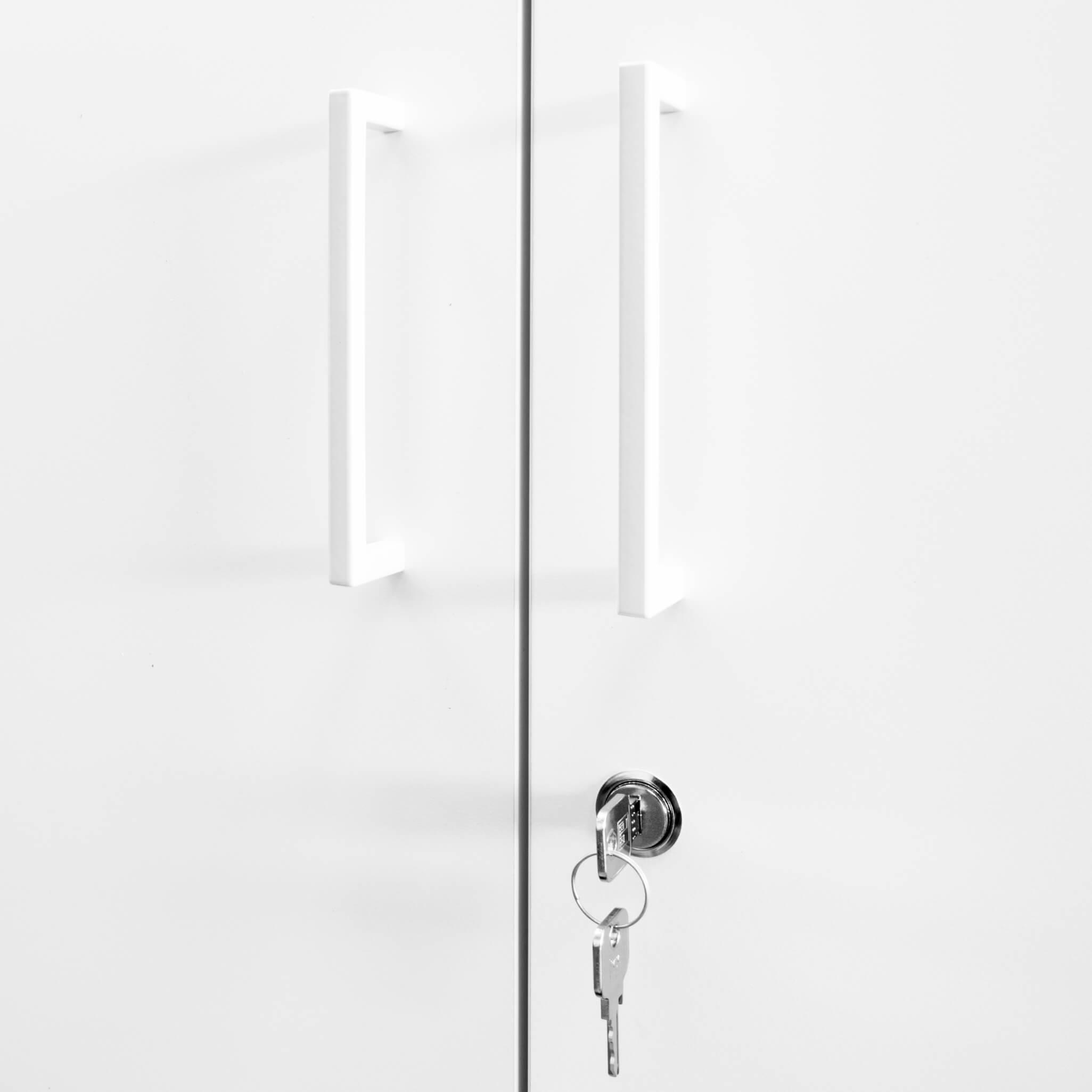 PROFI Vitrinenschrank abschließbar 5 OH Weiß-Ahorn Schrank Büroschrank Flügeltürenschrank