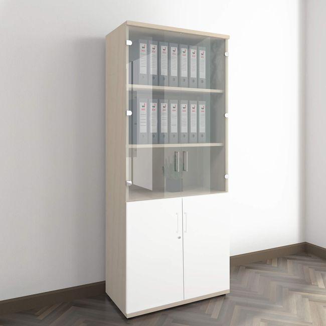 UNI Vitrinenschrank | 5 OH, 800 x 1897 mm, Ahorn / Weiß