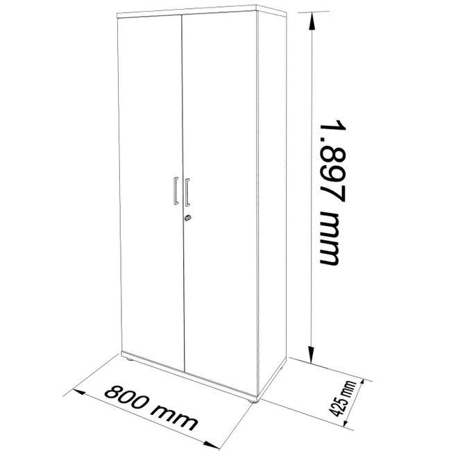 Flügeltürenschrank UNI 5 OH, (BxH) 800 x 1.897 mm, Weiß – Bild 17