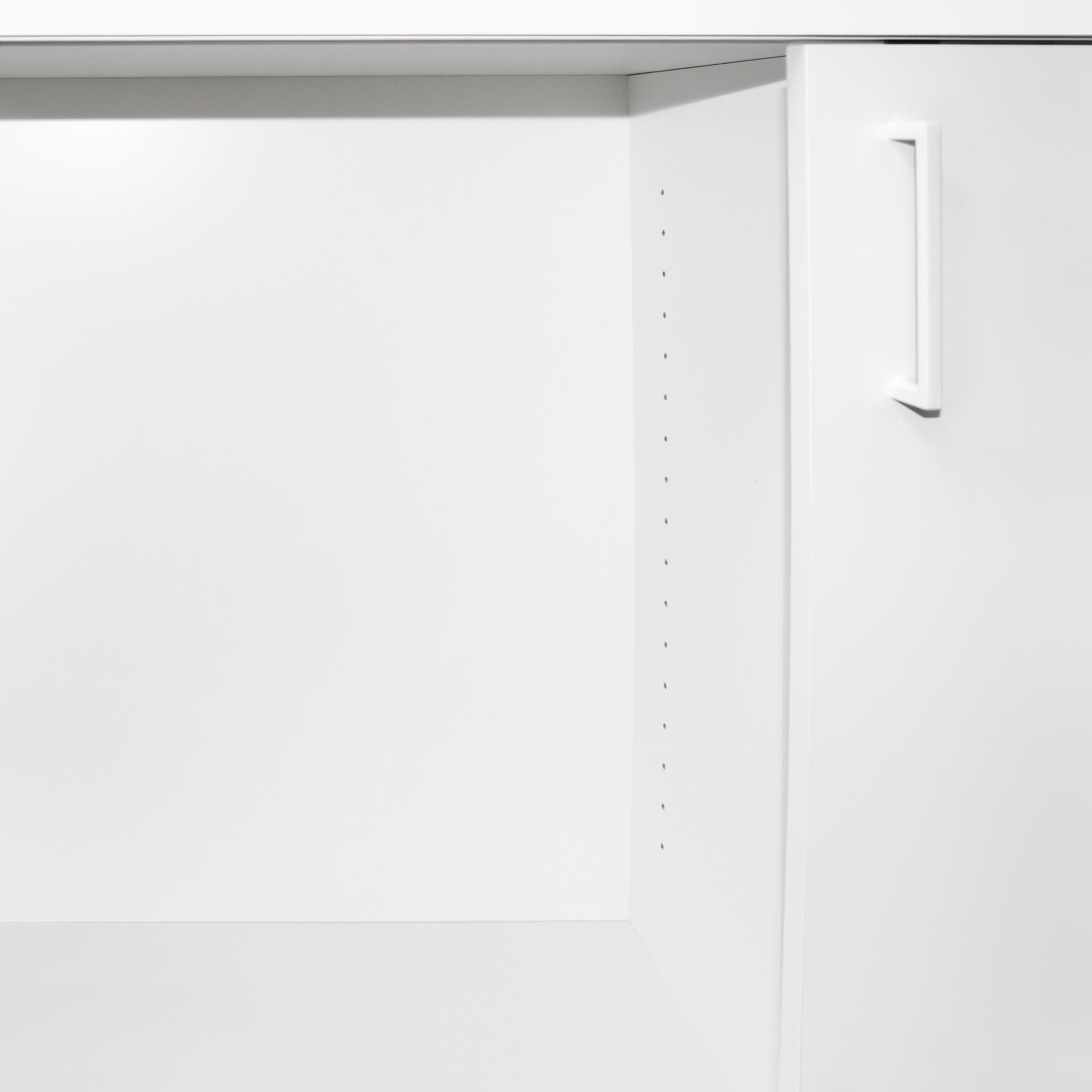 UNI Schiebetürenschrank 1 Meter breit abschließbar 2OH Weiß Schrank Büroschrank