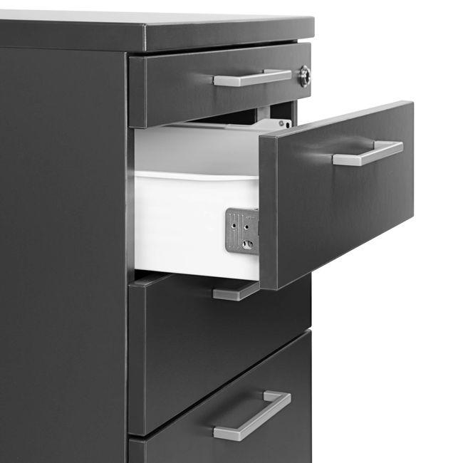 OPTIMA Rollcontainer | 3 Schubladen + 1 Kleinteilefach, 600 mm tief, Anthrazit