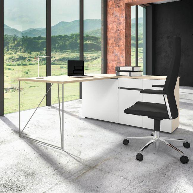 Schreibtisch AIR mit integriertem Sideboard rechts 1600 x 1600 mm Ahorn-Weiß – Bild 2