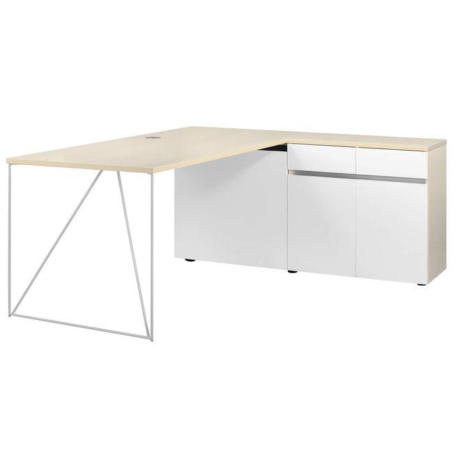 Schreibtisch AIR mit integriertem Sideboard rechts 1600 x 1600 mm Ahorn-Weiß – Bild 6