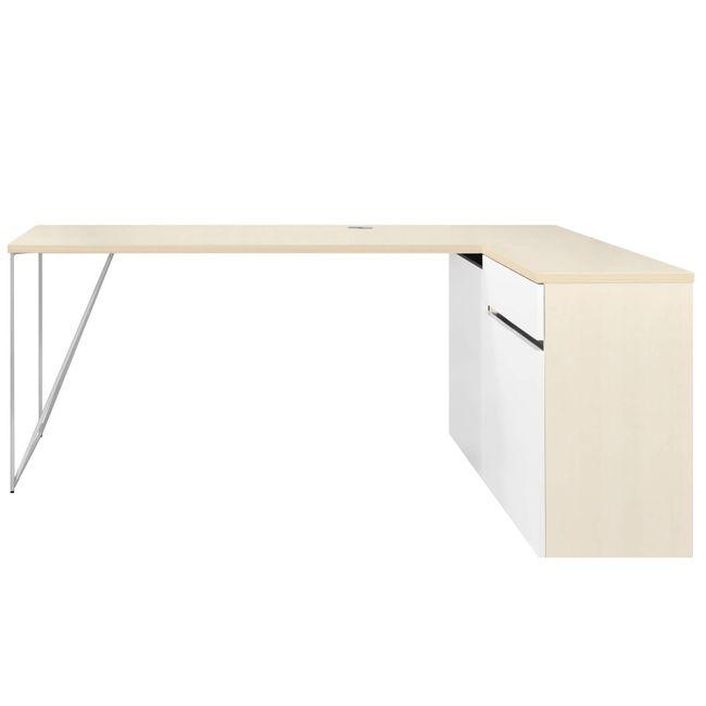 Schreibtisch AIR mit integriertem Sideboard rechts 1600 x 1600 mm Ahorn-Weiß – Bild 7