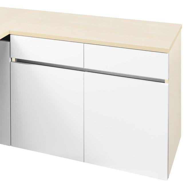 Schreibtisch AIR mit integriertem Sideboard rechts 1600 x 1600 mm Ahorn-Weiß – Bild 10