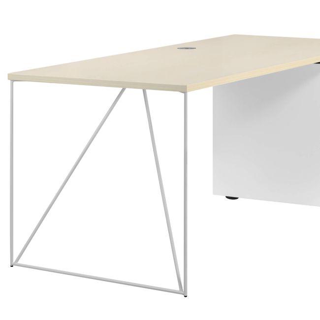 Schreibtisch AIR mit integriertem Sideboard rechts 1600 x 1600 mm Ahorn-Weiß – Bild 13