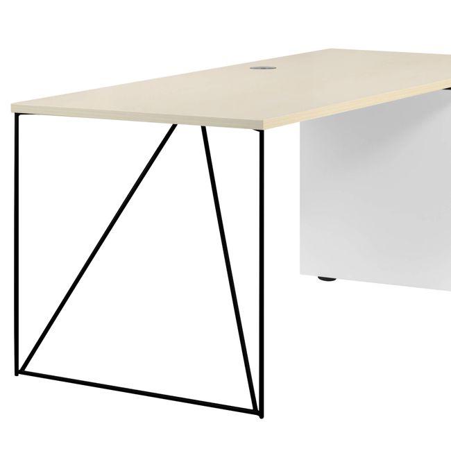 Schreibtisch AIR mit integriertem Sideboard rechts 1600 x 1600 mm Ahorn-Weiß – Bild 21