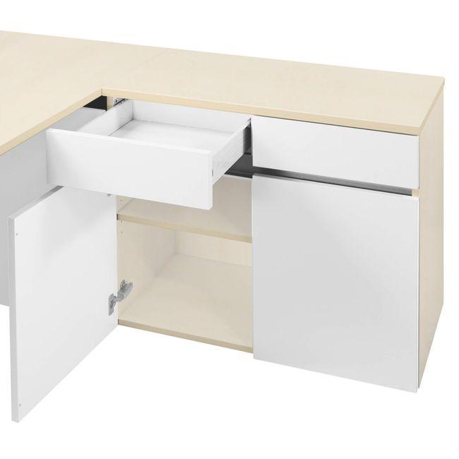 Schreibtisch AIR mit integriertem Sideboard rechts 1600 x 1600 mm Ahorn-Weiß – Bild 25