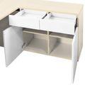 AIR Schreibtisch   Sideboard rechts, 1600 x 1600 mm, Ahorn / Weiß