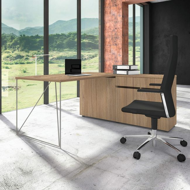 Schreibtisch AIR mit integriertem Sideboard rechts 1600 x 1600 mm Bernstein-Eiche – Bild 11