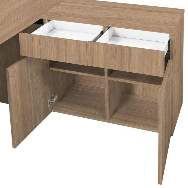Schreibtisch AIR mit integriertem Sideboard rechts 1600 x 1600 mm Bernstein-Eiche – Bild 24