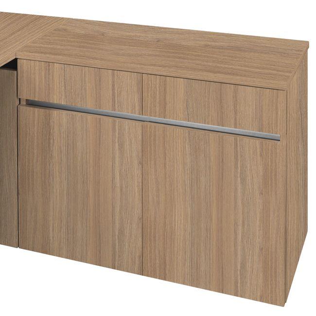 Schreibtisch AIR mit integriertem Sideboard rechts 1600 x 1600 mm Bernstein-Eiche – Bild 8