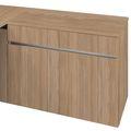 Schreibtisch AIR mit integriertem Sideboard rechts 1600 x 1600 mm Bernstein-Eiche